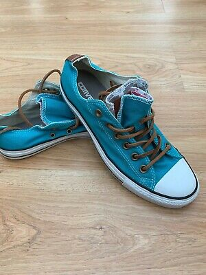 bd3b4ff202b5 Converse All Star Low Ox Trainers Turquoise Brown Leather Double Tongue UK  6.5