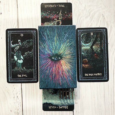 78 Tarot Cards Deck English Silver Plating Prisma Visions Divination Board Game