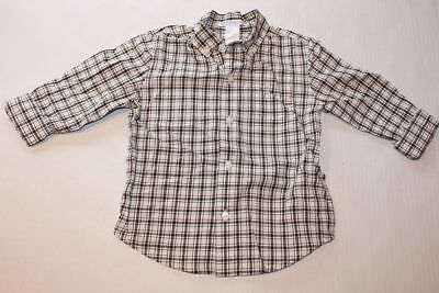 Baby Boy Toddler 2T JANIE AND JACK White Plaid Button Up Shirt Long Sleeve