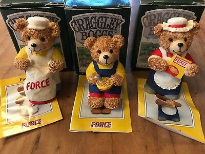 FRANKIE, FRED FLO set of 3 Force Craggley Boggs Bear Peter Fagan Colour Box