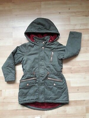 BN Khaki Hooded Jacket 9 yrs Fur Quilted Padded Parka Military Winter Rain Coat