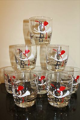 EIGHT Mid Century Libbey Glass TALLY HO Cocktail Glasses Horse Theme Barware