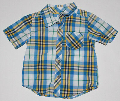 Baby Boy 2T Toddler OLD NAVY Blue Yellow Button Up Front Shirt Short Sleeve