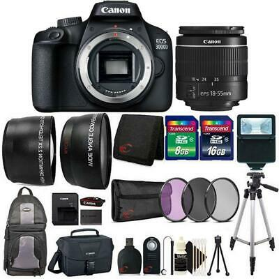 Canon EOS 3000D / Rebel T100 SLR Camera with 18-55mm Lens, Flash and More