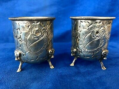 Pair Antique 925 Repousse Sterling Silver Floral Design Ram Footed Cups