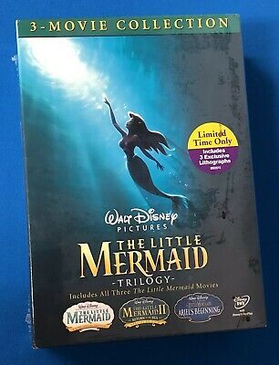 THE LITTLE MERMAID TRILOGY Movie Collection Lithographs Walt Disney DVD SET /2K