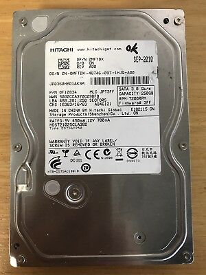 "Hitachi 250GB 7200RPM 3.5/"" SATA HDD HDS721025CLA382 0F13651 A19"