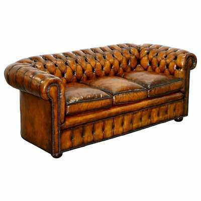 1930'S Made In England Hand Dyed Restored Whisky Brown 3 Seat Chesterfield Club