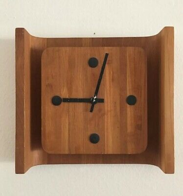 Mid Century Danish Teak Wall Clock With Curved Back, Gorgeous! Needs Hardware.