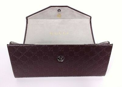 Gucci Brown Monogram Triangular Folding Glasses Sunglasses Case Genuine