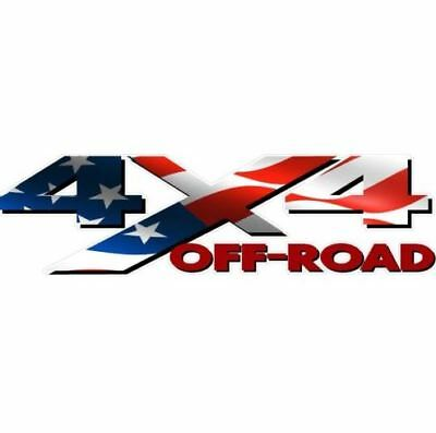 4X4 OFF ROAD American Flag Red Blue Decal Bedside Truck Sticker 2 Pack AM83OR4