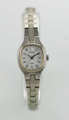 Pulsar Watch Womens Stainless Steel Silver Water Resistant Battery White Quartz