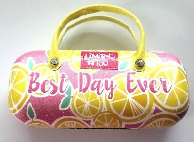 Limited too Girls Sunglasses Case with Pink Yellow Sparkly Lemons