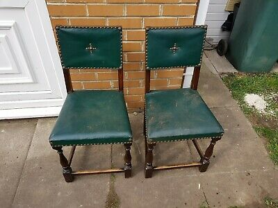 Pair Of Green Leather Antique Chairs