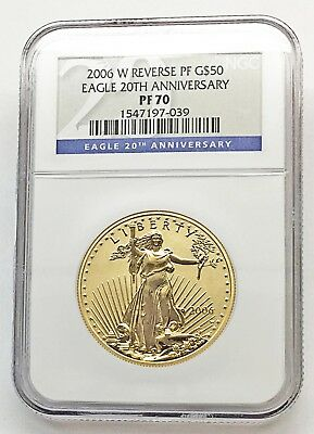 2006-W $50 GOLD EAGLE 20th ANNIV. REVERSE PROOF COIN - NGC PF 70 (-039)