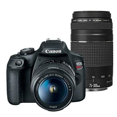 Canon EOS Rebel T7 DSLR Camera with Canon EF-S 18-55mm IS II + EF 75-300mm Lens