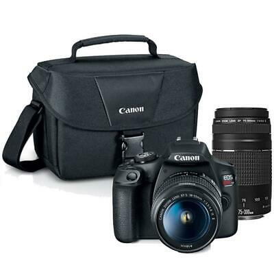 Canon EOS Rebel T7 DSLR Camera with Canon 18-55mm + 75-300mm Lenses + 100es Case