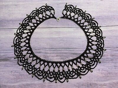Black Lacey Choker Necklace, Bridal Necklace, Beaded Choker, Regal Style, Gothic