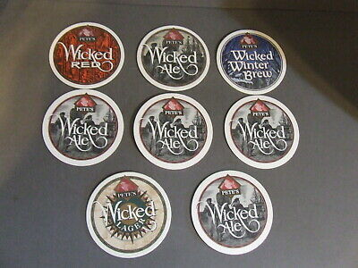 Lot Of 8 Pete's Wicked Beer Coasters 5 Ale, 1 Lager, 1 Red, 1 Winter Brew
