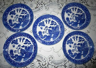 Vintage Nasco Japan Blue Willow 5 Luncheon Plates 4 Tea Cups  5 3/8""