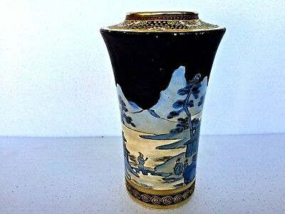 ANTIQUE 19th C ASIAN JAPANESE HAND PAINTED SATSUMA VASE SIGNED