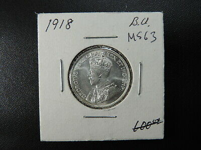 1918 25 Cent Coin Canada Twenty Five Cents King George V .925 Silver MS63+ Grade
