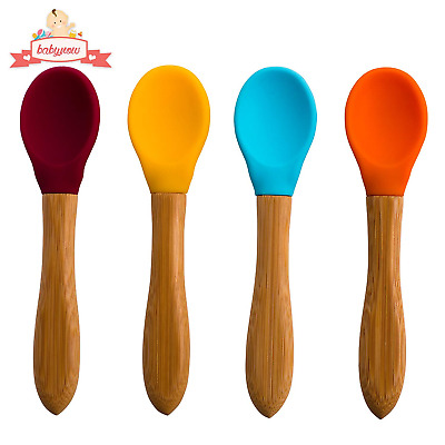 Baby Feeding Spoons [4 Color] Soft Silicone Spoon- Eco Bamboo Handle - Safe Baby