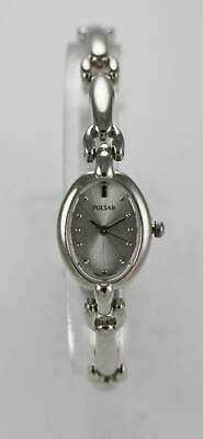 Pulsar Watch Womens White Stainless Steel Silver Water Resistant White Quartz