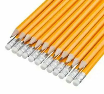 1/12 / 24  pack School HB Pencil Eraser Tipped Drawing Writing Yellow sharpened