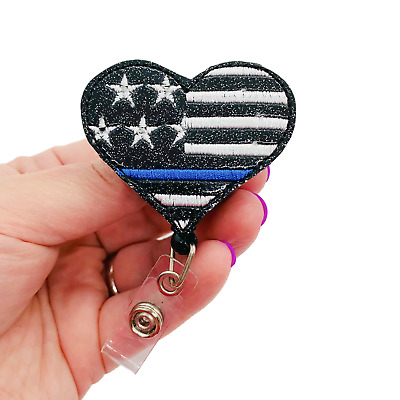 Wholesale Lot Police Thin Blue Line ID Badge Retractable Badge Reels// ID Holder