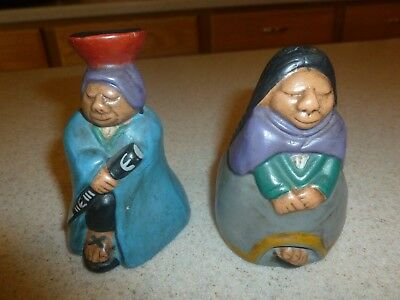 Old Small Pottery Lot of 2 Latin Figurines Ceramic Vintage Maya Aztec