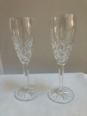 WATERFORD Lismore Champagne Flute Crystal Glass (Set of 2), EUC