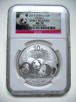 2013 China Panda S10Y 1oz Silver NGC MS70 Early Releases NO MILK - VERY NICE#051