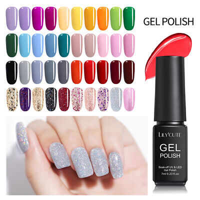 146Colors 7ml LILYCUTE UV Gel Nail Polish Soak Off   White Glitter