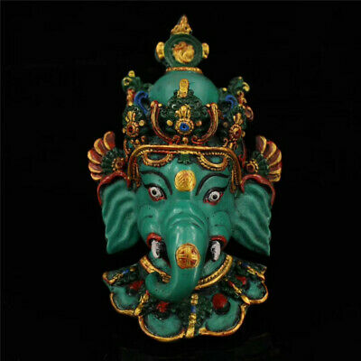 Collect old Nepal lacquerware painted Elephant Jambhala head Wall Hang Mural