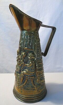 "Brass Vintage Pitcher 12"" Tall 6"" Diameter England Farmers Peasants Decorative"