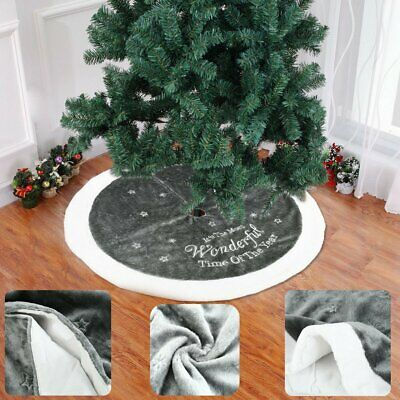 90cm Silver Christmas Tree Skirt Skirt Decoration Plush Xmas Base Floor Mat E3