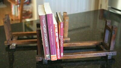 Pair of Antique Arts and Craft Style Wooden Book Rack Holder