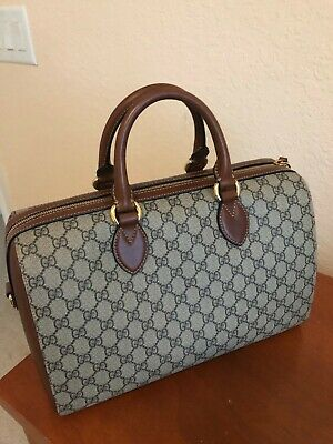 546448c2f4b4 Authentic Gucci Boston GG Supreme Monogram Large Top Handle / Brown Beige  Canvas