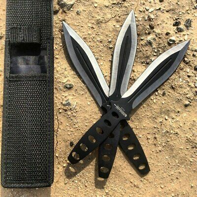 "3PC 8"" Ninja BLACK Tactical Combat Naruto Kunai Throwing Knife Set w/ Sheath"