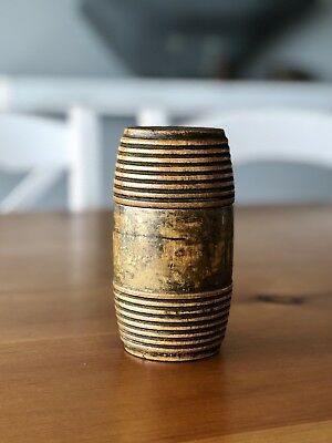 Antique Small Treen Wooden Barrel Container Jar Box nicely turned ribbed top btm