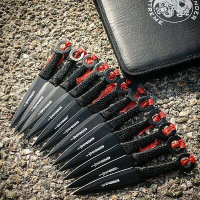12PC Ninja Hunting KNIVES Tactical Combat Naruto Kunai Throwing Knife Set + Case
