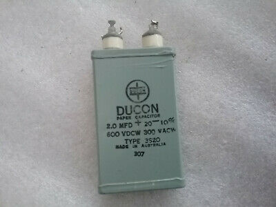 Vintage Very Rare Capacitor DUCON 2.0uF 600VDCW 3S20 300VACW