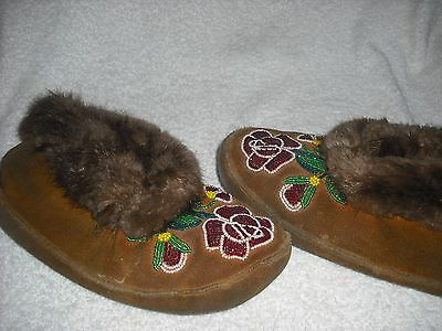 used beaded moccasins soft leather with beaded rosebud pattern