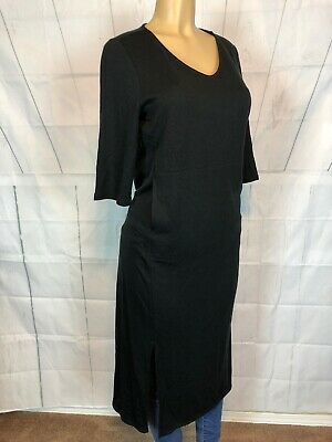 2dfa998ba684 J.JILL Luxe Tencel Pure Jill Black Maxi Solid Dress Slits Hem Sz PM Middle