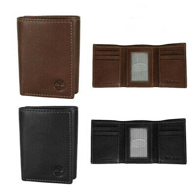 Timberland Cloudy Passcase Brown Genuine Leather Credit Card Trifold Men Wallet