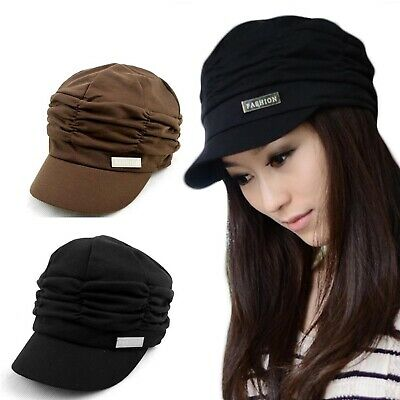 2f1dde4c4c6 2019 Women Fashion Pleated Layers Beret Beanie Hat Peaked Brim Cap Sun  Protector