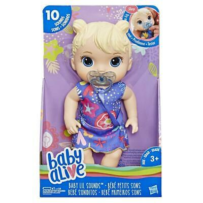 Brand New Hasbro Baby Alive Baby Lil Sounds Blonde Hair E3690