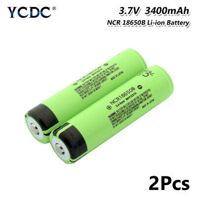2Pcs High Drain 20A NCR 18650B Battery 3400mAh Rechargeable For Vape Headlamp 2