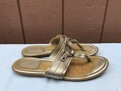 17f296ecf55f Authentic Christian Dior 38.5 US 7.5 Gold Leather Logo Charm Thong Sandals  A7